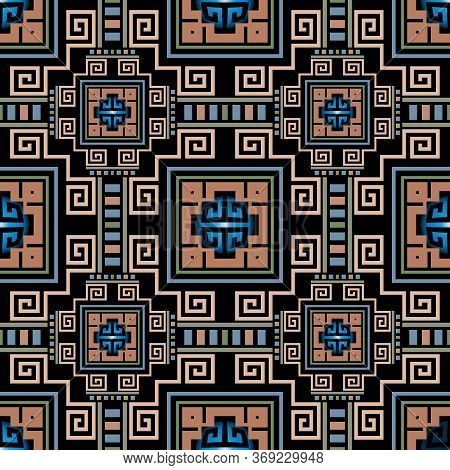 Geometric Greek Vector Seamless Pattern. Abstract Tribal Ethnic Style Background. Repeat Colorful Pl