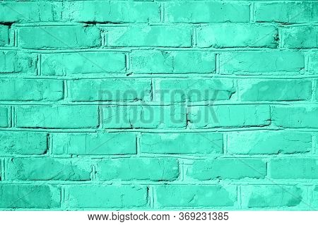 Brick Wall Texture. Vivid Biscay Green Color Background With Copy Space For Design. Tones Of Biscay