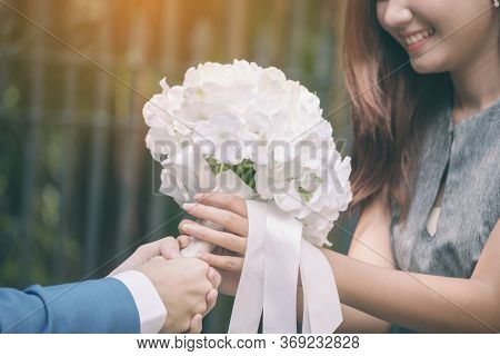 Will You Marry Me ? Yes I Do. White Wedding Bouquet Romantic Bridal After Engagement. Wedding Lover