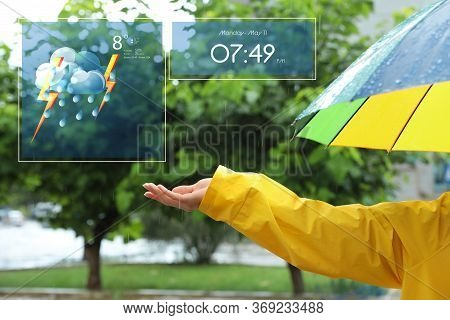 Woman With Colorful Umbrella Outdoors On Rainy Day And Weather Forecast Widgets, Closeup. Mobile App