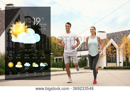 Sporty Couple Running On Street And Weather Forecast Widget. Mobile Application