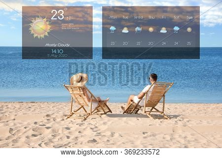 Young Couple Relaxing In Deck Chairs On Beach And Weather Forecast Widgets. Mobile Application