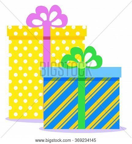 Christmas Gifts, Traditional Holiday Celebration. Vector Colorful Boxes With Presents Inside And Tie