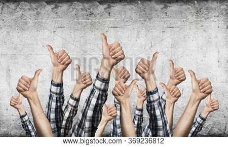 Row Of Man Hands Showing Thumb Up Gesture. Agreement And Approval Group Of Signs. Human Hands Gestur
