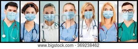 Doctor, Nurse And Medical Staff Portrait Face Photo Banner Set In Concept Of Hospital People Fightin