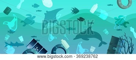Water Pollution Environmental Concept With Plastic Bags, Bottles,barrels, Litter In The Muddy Water.