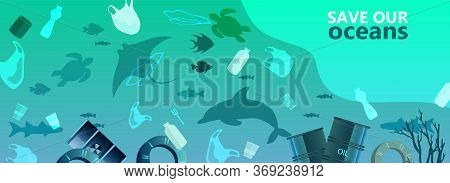 Water Pollution Environmental Concept With Plastic Bags, Bottles, Barrels, Dolphin, Fish, Shark. Lit