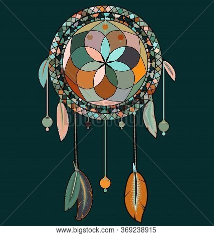 Vector Illustration Colored Image Of Dreamcatcher With Feathers
