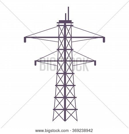 Electric Tower Cartoon Vector Illustration. Powerline Pylon Flat Color Object. Large Metal Construct