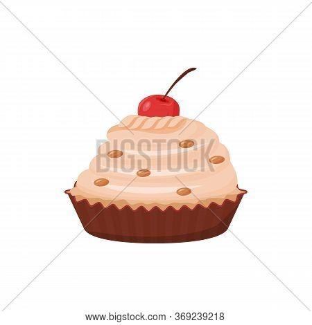 Delicious Cupcake Cartoon Vector Illustration. Sweet Food, Pastry With Cherry Decoration, Creamy Bak