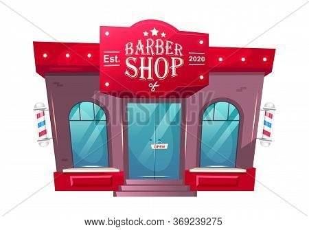 Barber Shop Front Cartoon Vector Illustration. Grooming Store Exterior. Barbershop Building With Sig