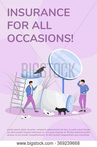 Insurance For All Occasions Poster Flat Vector Template. Bad Luck Signs, Superstitions Brochure, Boo