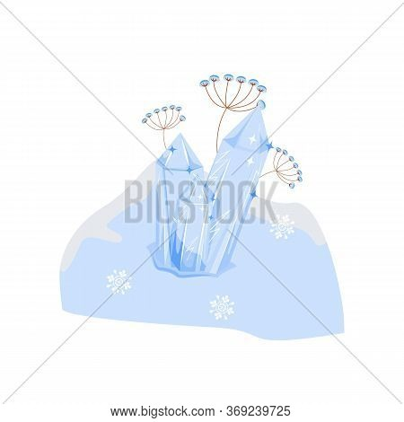 Snow Pile Cartoon Vector Illustration. Winter Season. Cold Seasonal Snowdrift. Glowing Hoarfrost. Gl