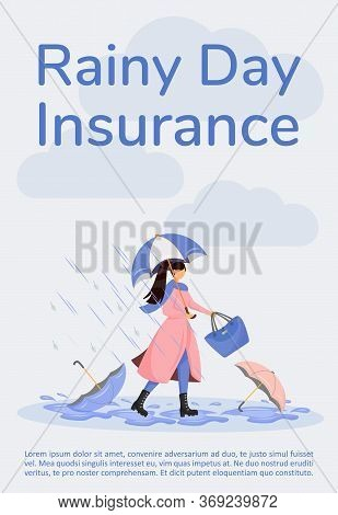 Rainy Day Insurance Poster Flat Vector Template. Coverage For Financial Loss From Storm. Brochure, B