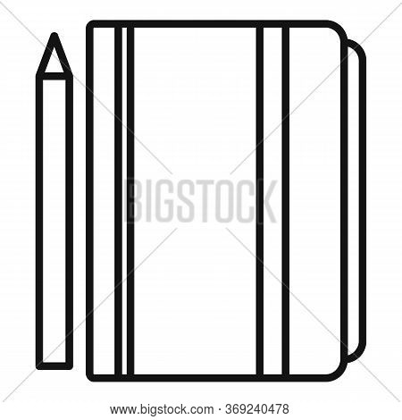 Tutor Lesson Notebook Icon. Outline Tutor Lesson Notebook Vector Icon For Web Design Isolated On Whi