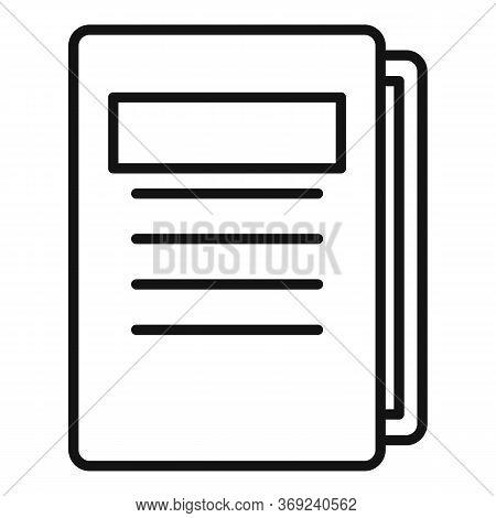 Tutor Lesson Folder Icon. Outline Tutor Lesson Folder Vector Icon For Web Design Isolated On White B