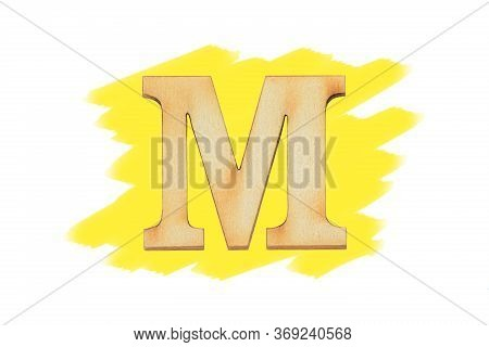 Alphabet Letter Wooden Font On Painted Yellow Color Isolated On White Background. English Flat Wood