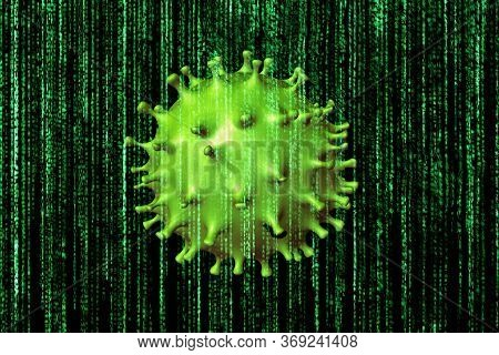 Covid-19 Virus Cell On Matrix Background: It Is Disease Caused By New Coronavirus. Ncov Is A New Str