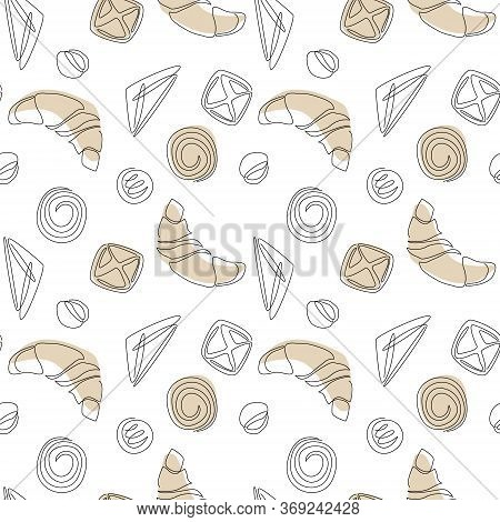 Vector Seamless Pattern With Continuous Line Croissants And Buns. Bakery Product For Logo, Packaging