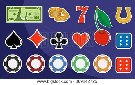 Slot Machine Design Elements. Signs For Slot Machines. Casino Chips, Croupier, Craps Dice, And Playi