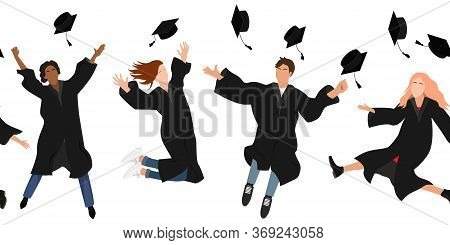 Seamless Border With Happy Graduate Students In Graduation Clothing Jumping And Throwing The Mortarb