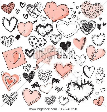 Heart Sketches. Doodle Heart Shape Symbols Set. Cute Fluffy, Dotted, Outlined, Checkered, Broken, Re
