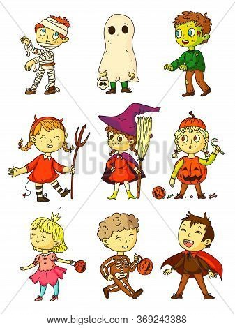 Halloween Kids. Funny Kids In Creepy Costumes Set. Children Wearing Mummy, Ghost, Zombie, Witch, Dev
