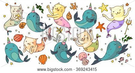 Mermaid Cats And Unicorn Narwhals. Fantasy Underwater Animals Set. Funny Mermaid Cats, Unicorn Narwh