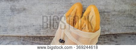 Reusable Grocery Bags With Bread, Zero Waste Shopping. Zero Waste Concept Banner, Long Format