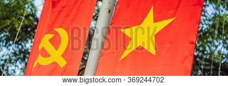 Communist Badges On Red, Sickle, Hammer And Star. Ussr, Vietnam, China Banner, Long Format