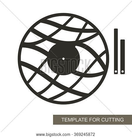 Unusual Round Wall Clock In A Minimalistic Modern Style. Dial Without Numbers, Wave Pattern, Minute