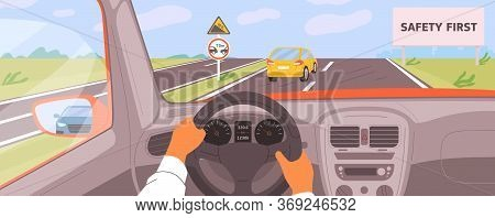Male Hands Driving Car Moving On Highway Vector Illustration. Driver Riding On Road Inside Of Automo