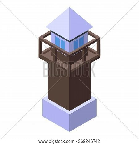 Prison Tower Icon. Isometric Of Prison Tower Vector Icon For Web Design Isolated On White Background