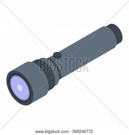Flashlight Icon. Isometric Of Flashlight Vector Icon For Web Design Isolated On White Background