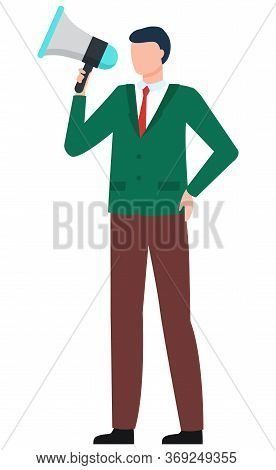 Announcement With Megaphone, Worldwide Information, Business Advertisement. Male Character Holding S