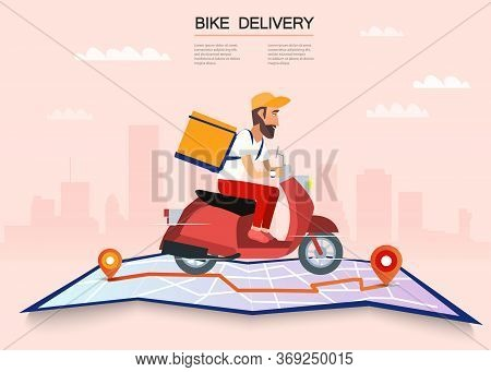 Delivery, The Guy On The Bike Carries The Parcel. Urban Landscape. Courier Driving Bike Fast Food Fo