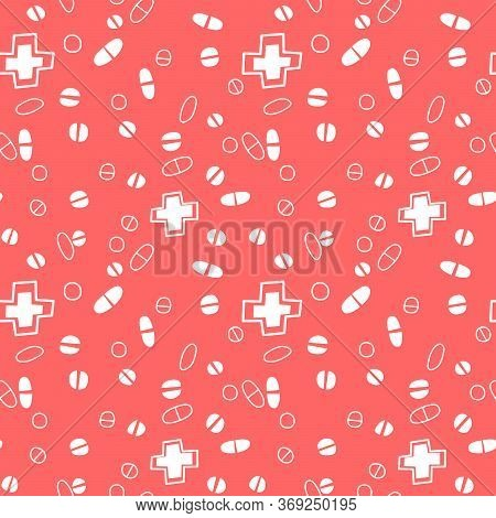 Seamless Pattern With Medicines, Capsules, Medicaments, Drugs, Pills And Tablets. Medical Pharmacy B