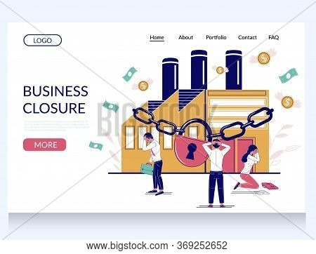 Business Closure Vector Website Landing Page Template