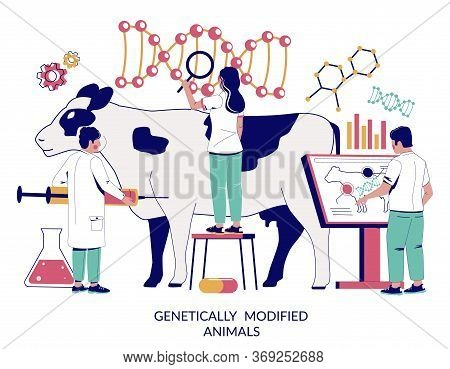 Genetically Modified Animals Vector Concept For Web Banner, Website Page