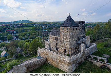 Medieval Ruined Stone Castle In Bedzin. Silesia, Poland. The Stone Castle Dates To The 14th Century