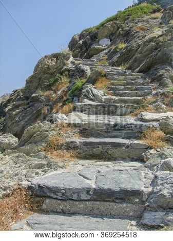 Stairways Around Agios Ioannis Sto Kastri At Skopelos Island At The Sporades In Greece