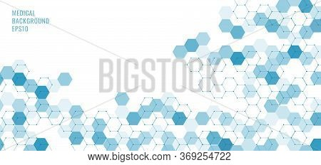 Abstract Technology Or Medical Concept Blue Hexagons Shape Pattern On White Background. Ideas For He