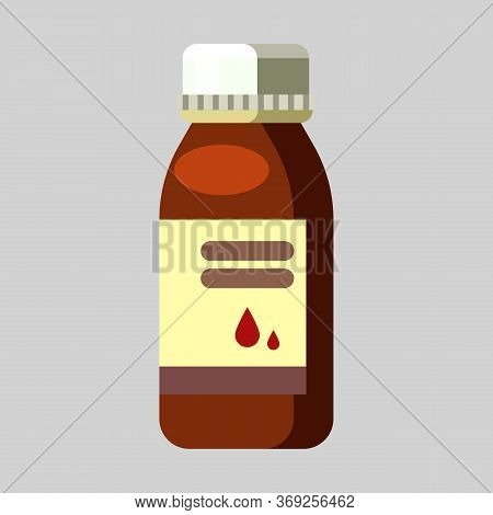 Remedy. Medical Bottle, Drop, Syrup. Medication Concept. Illustration Can Be Used For Topics Like Cu