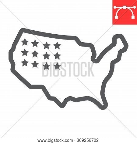 Usa Map Line Icon, America And Country, Map Of Usa Sign Vector Graphics, Editable Stroke Linear Icon