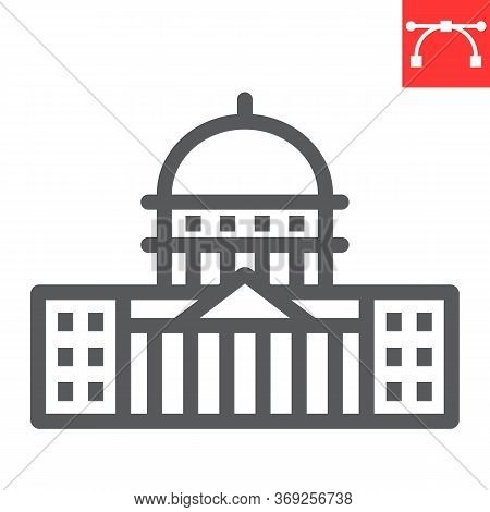 Capitol Building Line Icon, Usa And Congress, Washington Capitol Sign Vector Graphics, Editable Stro