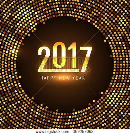 Happy New Year 2017 . Gold Glitter Isolated On Brown Background Vector Illustration. Eps 10