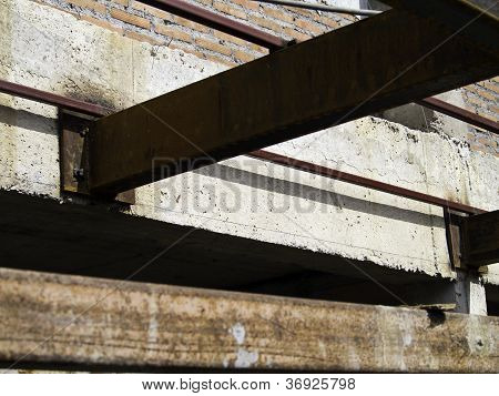 Construction joint steel structure of building under construction poster