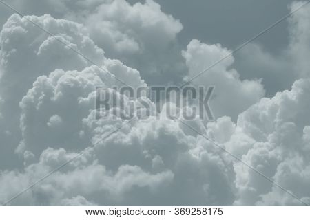 White Fluffy Clouds On Sky. Soft Touch Feeling Like Cotton. White Puffy Cloudscape. Beauty In Nature