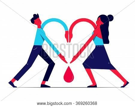 Man And Woman Holding Hands Together In Shape Of Heart And Blood Drop Between Them. Paying Respect T
