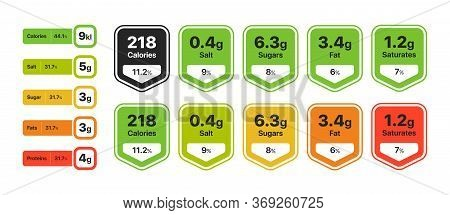 Food Value Infographic Set. Labels With Nutrition Facts, Calories, Fats, Sugar, Saturates Percentage